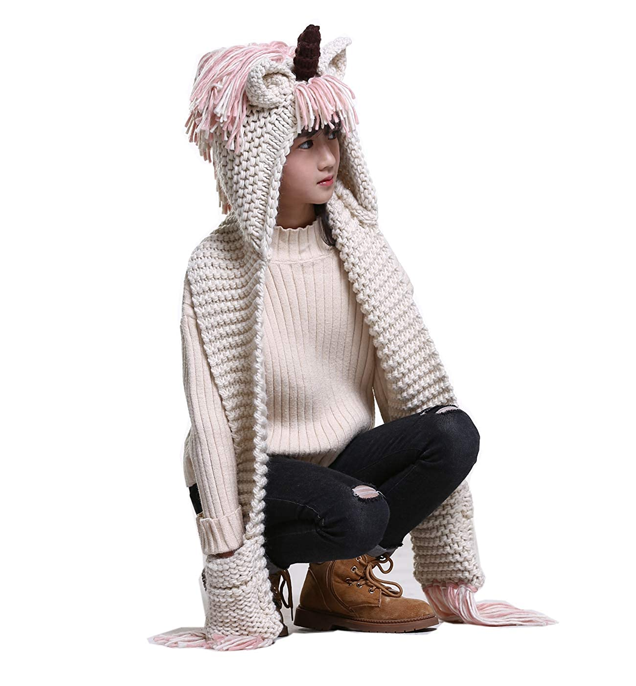 Marlong Girls Kids Crochet Cartoon Unicorn Winter Hat with Scarf Pocket Hooded Knitting