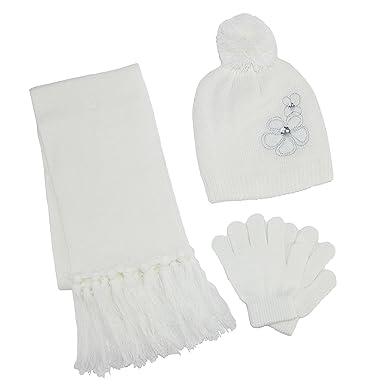 9b0ec87ed4b9 ClimaZer0 - Ensemble bonnet, écharpe et gants - Uni - Fille - blanc -  Taille unique  Amazon.fr  Vêtements et accessoires