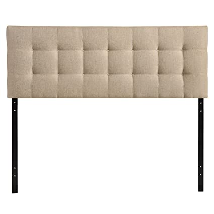 Exceptional Modway Lily Upholstered Tufted Fabric Headboard Queen Size In Beige
