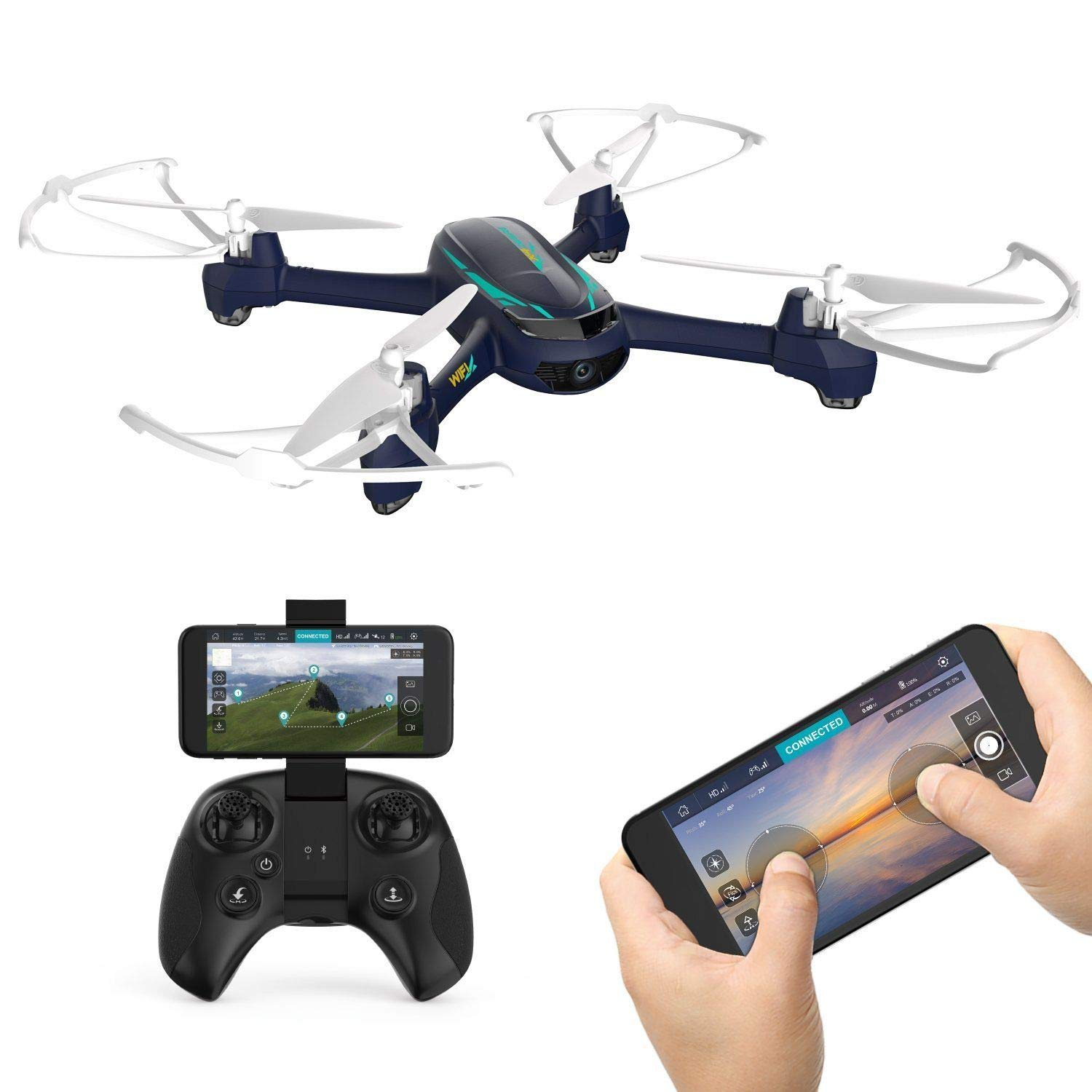 HUBSAN H216A X4 Desire PRO WiFi Waypoints FPV Drone Adults RC Helicopter Quadcopter with1080P WiFi Camera Live Video Altitude Hold Headless Mode RTF