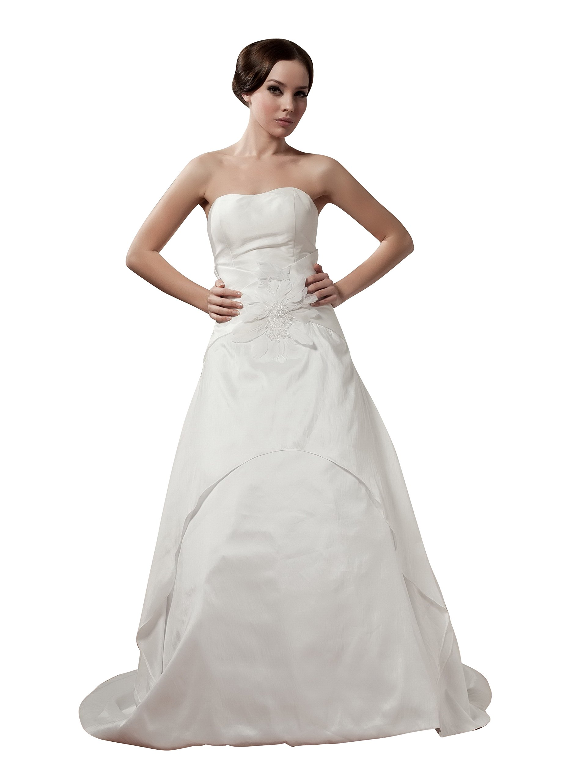 Vogue007 Womens Strapless Satin Pongee Wedding Dress with Flower, ColorCards, 18