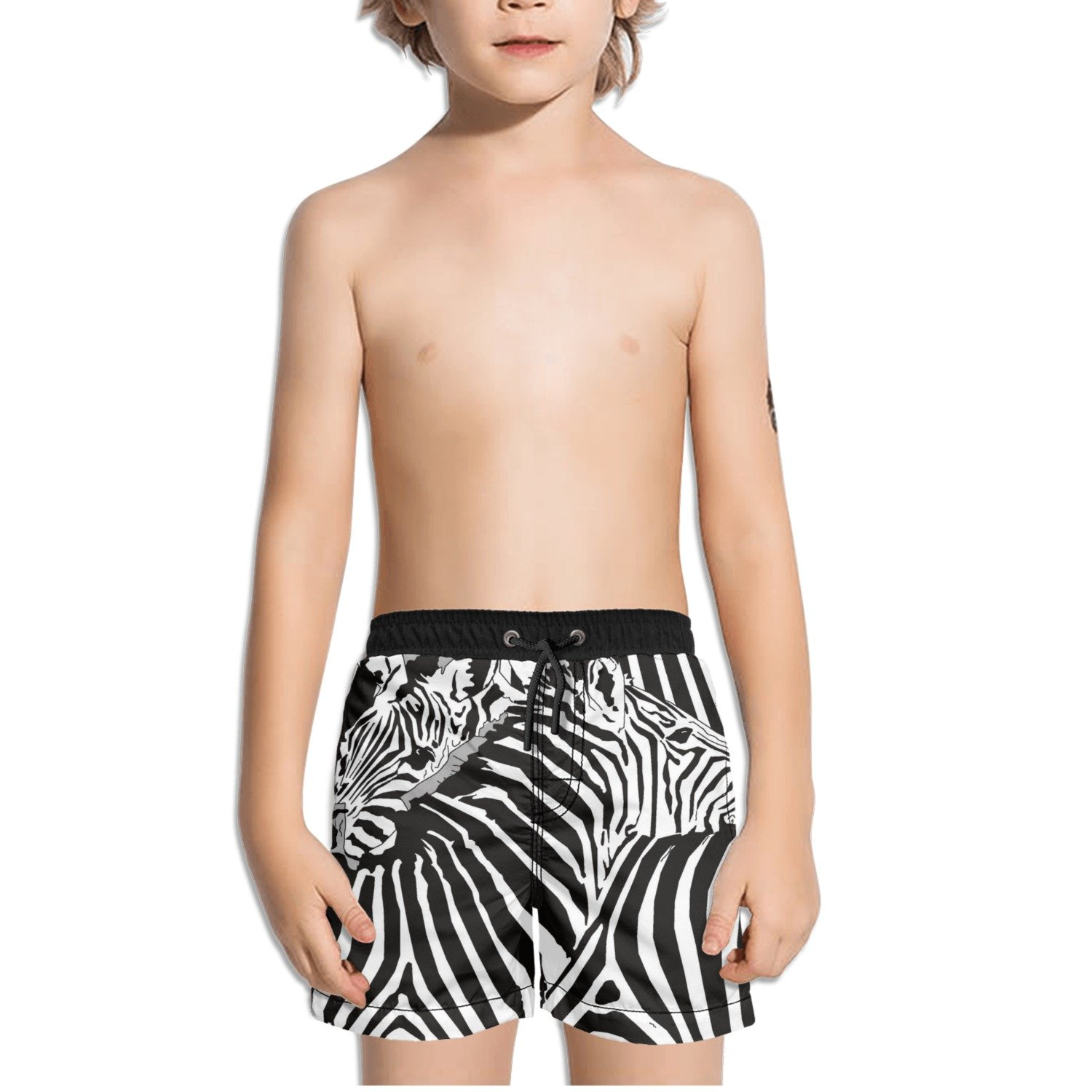Ouxioaz Boys Swim Trunk Zebra Pattern Hug Beach Board Shorts