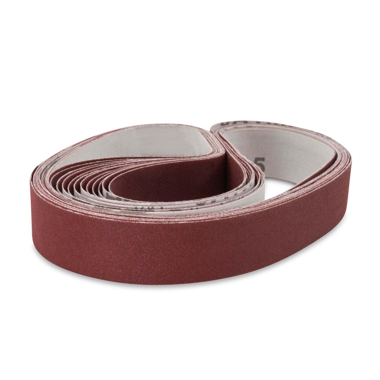 1 X 44 Inch 100 Grit Flexible Aluminum Oxide Multipurpose Sanding Belts, 12 Pack