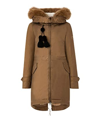 Amazon.com  Peuterey Women s Long Parka in Pure Cotton Twill Brown ... 52a9267bd1