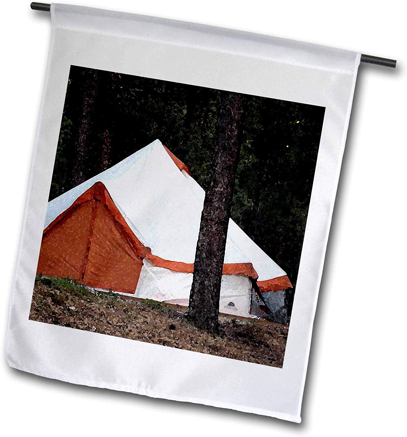 3dRose Jos Fauxtographee- Tent - an Orange and White Tent Set up for Camping Near a Tree - 12 x 18 inch Garden Flag (fl_320066_1)