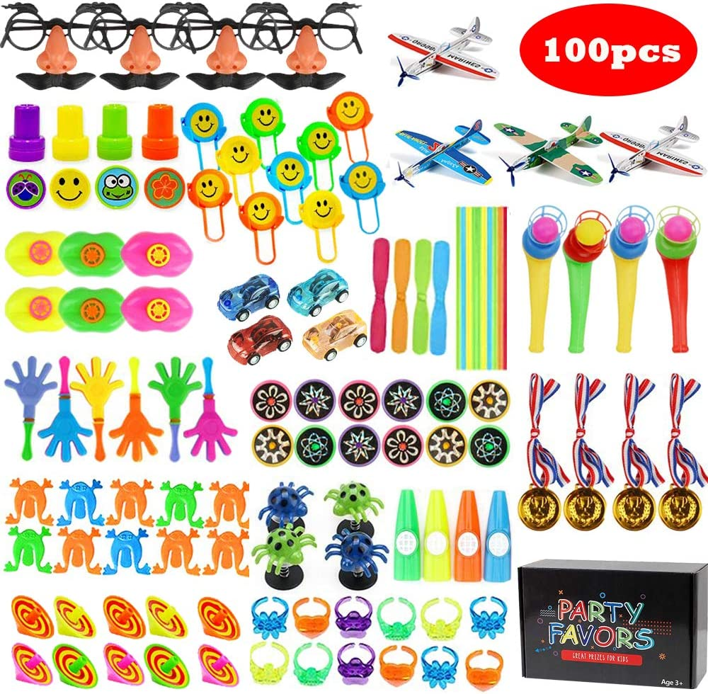 Party Favors for Kids, 100 PCS Carnival Prize Bulk Toys for Classroom Rewards, Easter Eggs Goodie Bag Filler Novelty Toys, Birthday Party Assortment Treasure Box for Boys and Girls