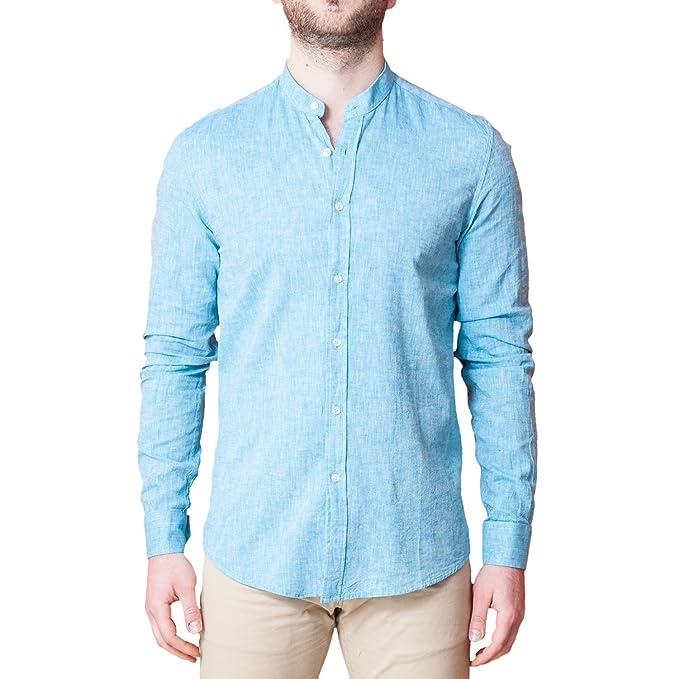 Coreano Camicia Fit Manica Elegante Slim Celeste Lino Uomo Collo aa6qwHE