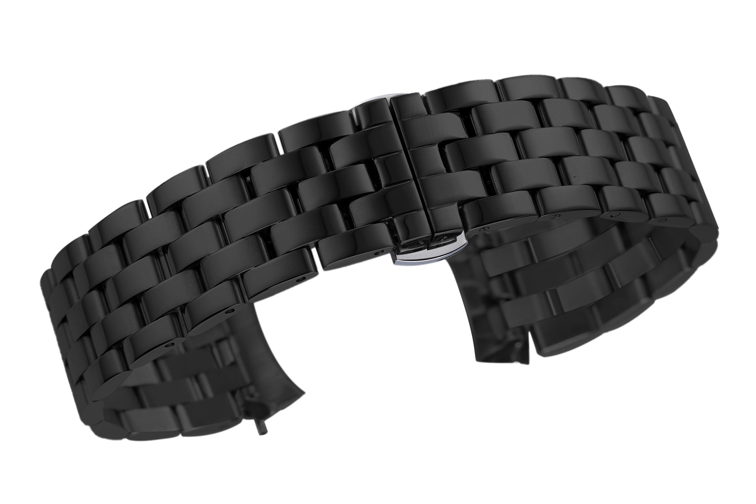 22mm Premium Curved End Watch Straps Replacements for Men in Black Solid 316L Stainless Steel Pilot Style by autulet