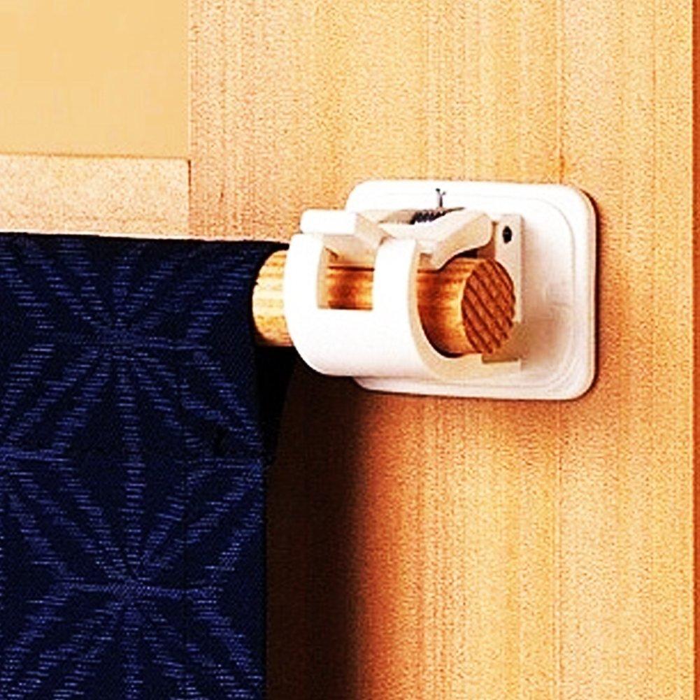 Self Adhesive Curtain Bracket Rod Heavy Duty Wall Ring Hook Holders Clips 2PCs GeKLok 2 PCs Curtain Rod Holder