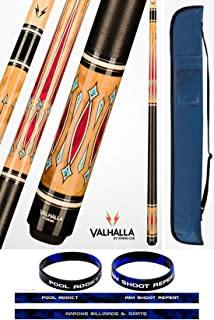 product image for Valhalla VA720 by Viking 2 Piece Pool Cue Stick Linen Wrap, HD Graphic Transfers, Nickel Silver Rings, High Impact Ferrule, 18-21 oz. Plus Cue Case & Bracelet