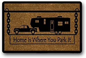 """WYFKYMXX Home is Where You Park It 5Th Wheel Coir Doormat - Welcome Mat House Warming Mud Room Gift Custom Camping Camper Rv Outdoor Mat 18"""" x 30"""""""