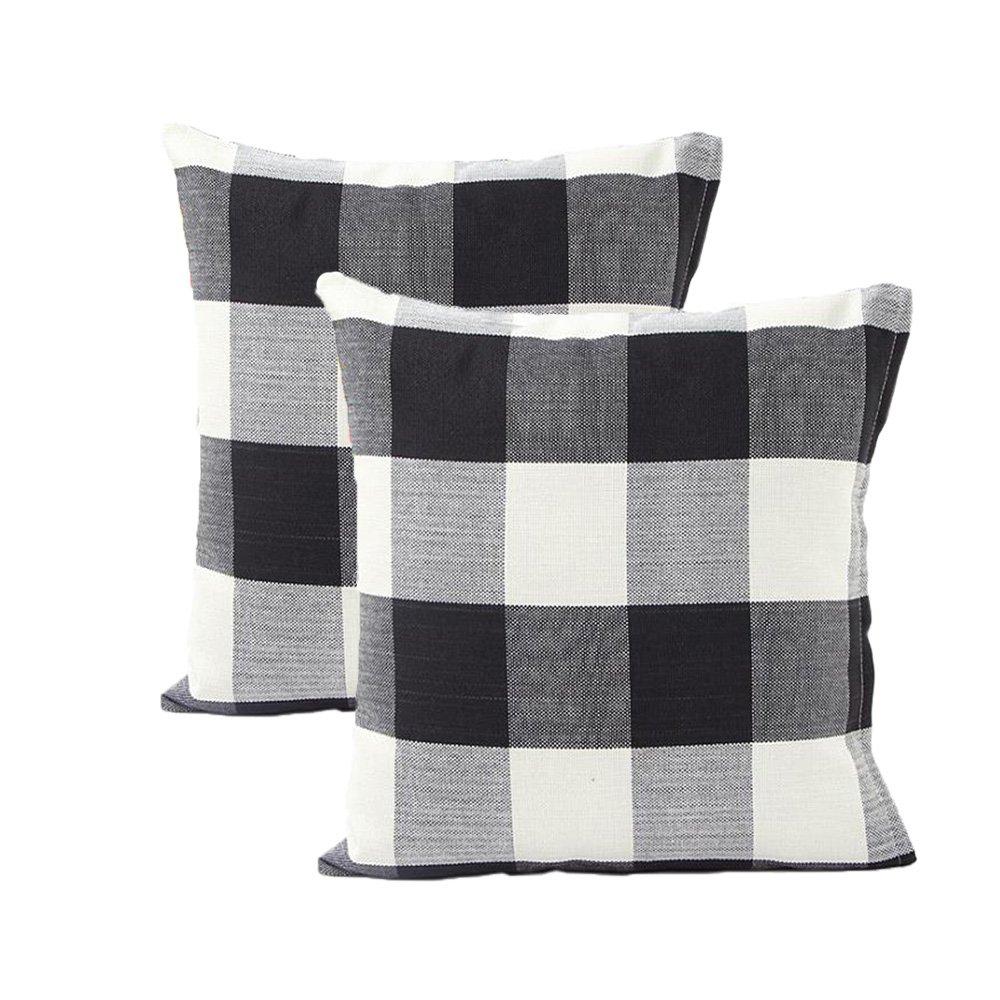 Tealp Plaid Throw Pillow Cover Linen Cotton Decorative Pillow Case Home Sofa Cushion Set,2-Pack Square Design (18x18 inch),Black and White