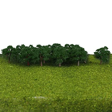 SM SunniMix 25pcs Plastic Model Tree, Forest Greenery Plants Z Gauge