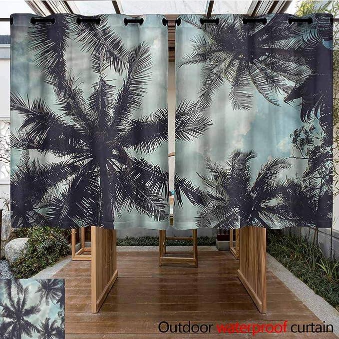Sunnyhome Cortina para Puerta corredera, Transparente, Tropical ...