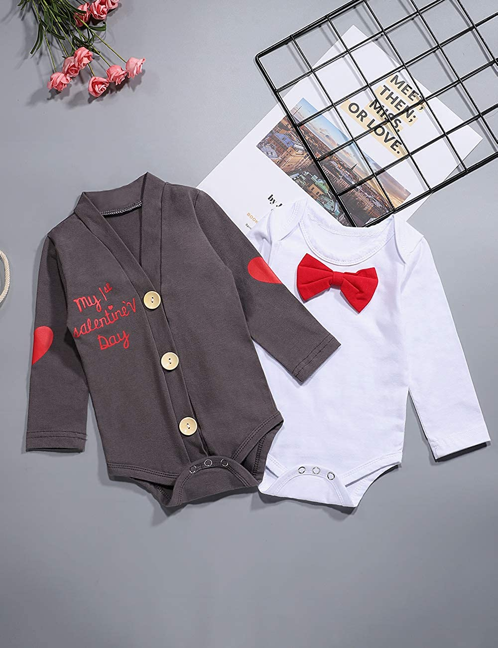 Newborn Baby Boy Girl Clothes My First Valentines Day Rompers Bodysuit+Cute Pant 3PCS Gentleman Outfit Set