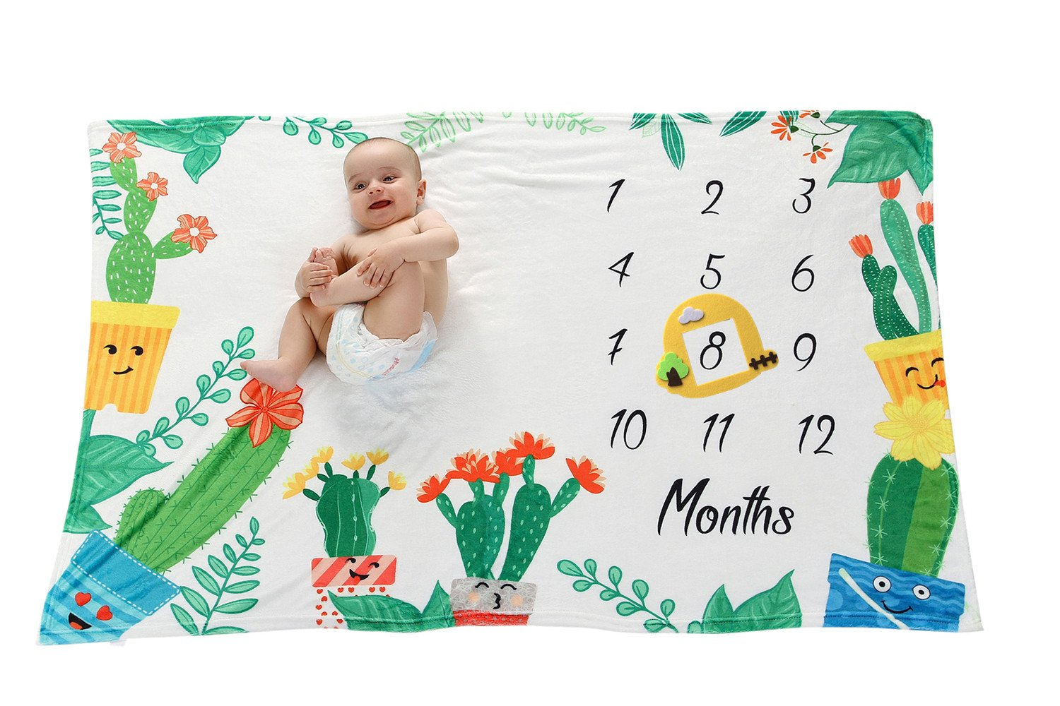 Premium Fleece Cactus Baby Milestone Blanket for Newborn Photo Props, Monthly Growth Tracker, Baby Shower Gift for Baby Boy & Girl KASU