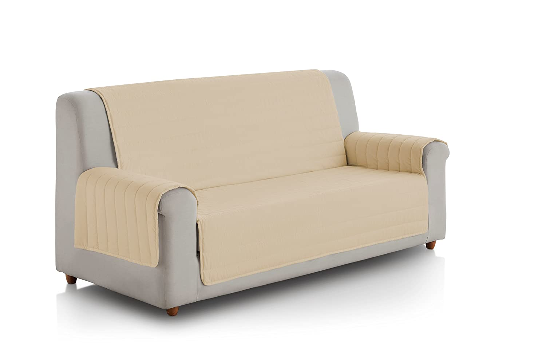 Eiffel Textile FSA0007 Cubre Sofa Acolchado Reversible, 2 Plazas, Poliéster, Crudo/Chocolate