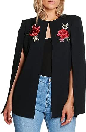 HaoDuoYi Women's Oversized Floral Embroidery Side Split Wear To Work Cape Blazer