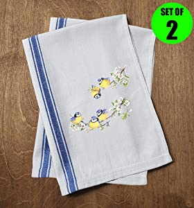Classic Kitchen Towels Blue and Yellow Birds Sitting on Branches White Flower Nature Funny Dish Towels with Sayings Set of 2 Multipurpose Blue Stripe Towel