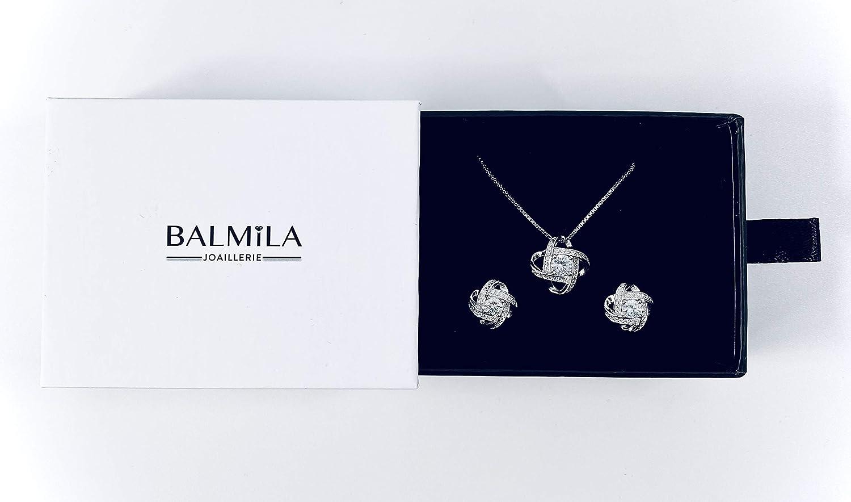 Collier argent 925 Cadeau id/éal pour femmes parure chaine pendentif Emballage de luxe avec carte personnalisable Bijoux femme BALMILA boucles d/'oreille