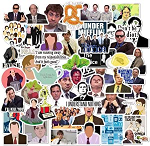 The Office Stickers Merchandise, 50 Pack Decals Office Funny Merchandise Poster Sticker,Waterproof Vinyl Stickers for Laptops, Hydro Flasks, Wate Bottles