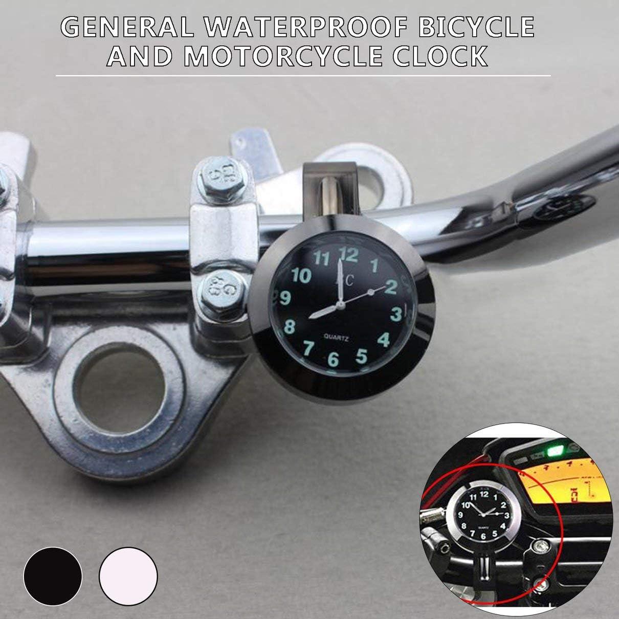 Orologio da bici impermeabile universale Grow In Dark Clock per moto Quadrante in lega di alluminio Mini per montaggio su manubrio bici nero