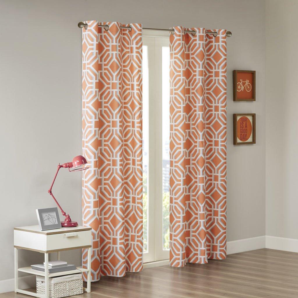 Intelligent Design ID40-897 Grommet, Maci Geometric Window Bedroom Family,  Modern Contemporary Fabric Orange Living Room Curtains, 42x84, 1-Panel Pack