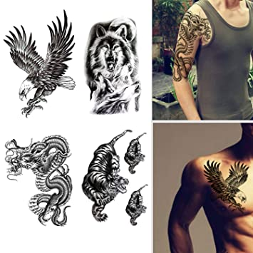 3beae6ec3 Amazon.com : Large Temporary Tattoos Waterproof Fake Tattoo Realistic Eagle  Wolf Tiger Dragon Animal Shaped Body Tattoo Stickers for Men Adults Boys  Guy ...