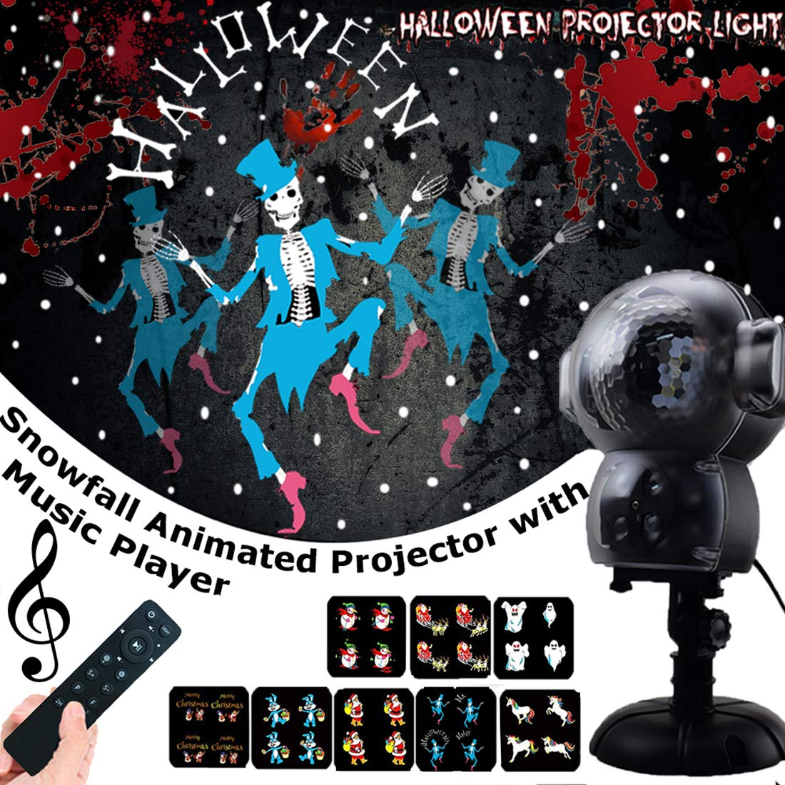 UPODA Christmas LED Snowfall Halloween Waterproof with Remote Control Timer and Music Player Anime Snow Light Projector for Outdoor Wedding Xmas Holiday Party Decorations, by UPODA