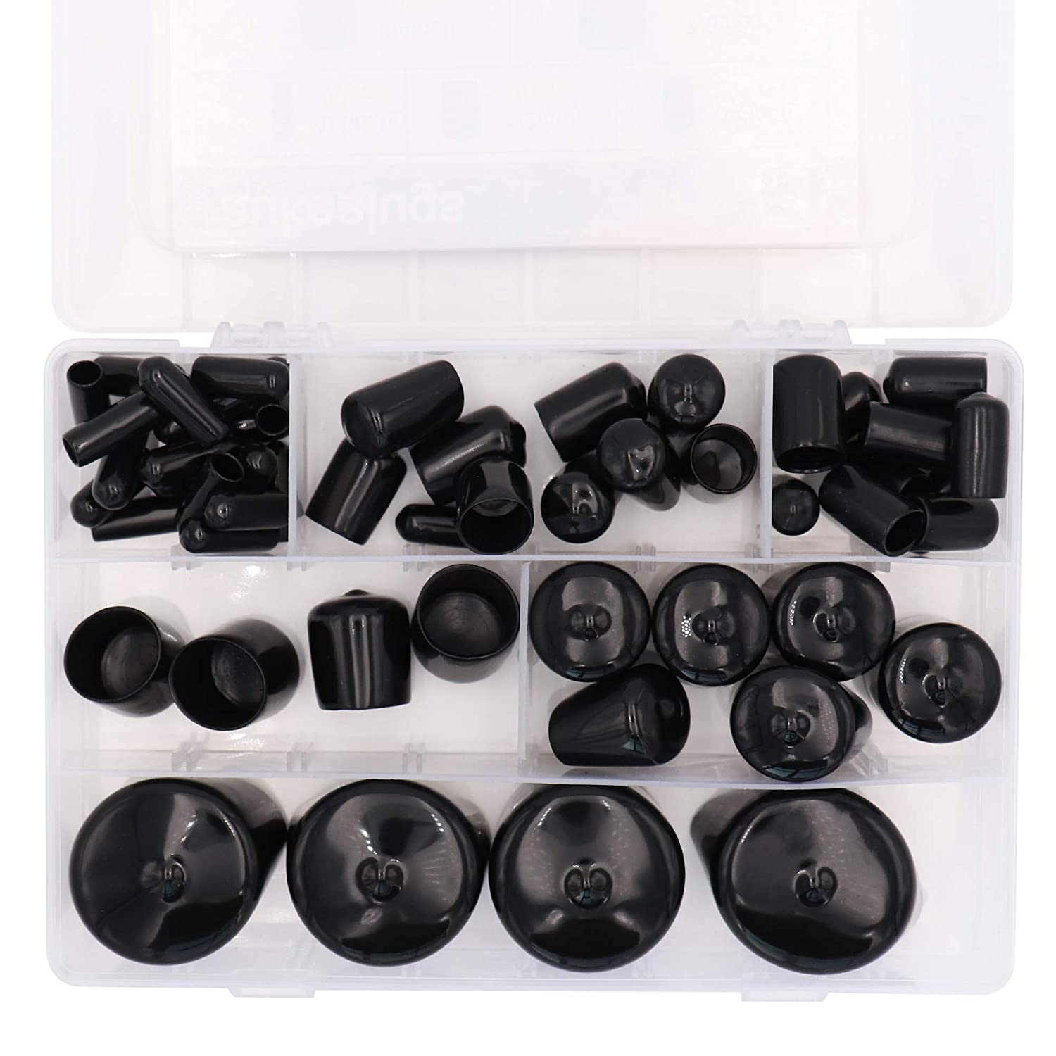 54pcs Black Pipe Post Bolt Screw Rubber Thread Protector Cover Vinyl Tube End Caps,Assorted 1//4-inch to 1 1//2-inch-6 Sizes
