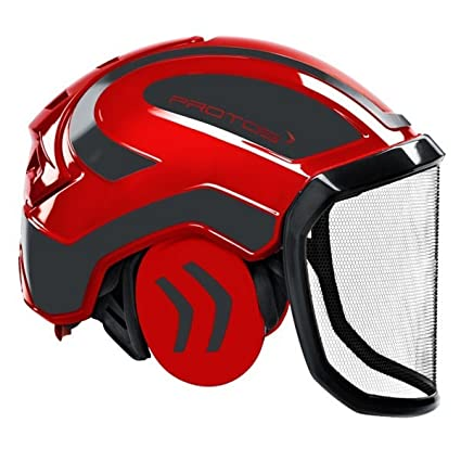Protos Integral Forest - Casco forestal (Rojo/Gris): Amazon ...