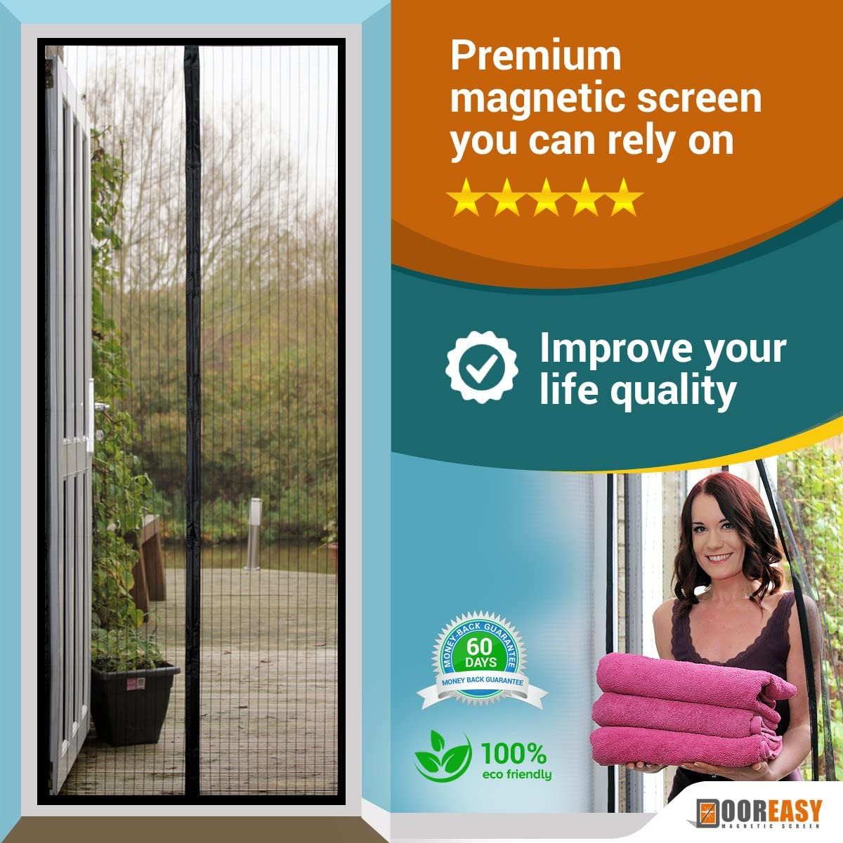 DOOREASY Magnetic Screen Wide Range Sizes Screen Door, Full Frame Loop Sewn Polyester Mesh, Add-on Magnets and Weight Bars(Fits Doors up to 30
