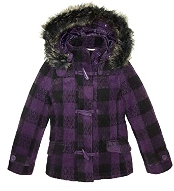 5642b8e96d8d SS7 Girls Wool Coat Faux Fur Hooded Parka Jacket Age 7 8 9 10 11 12 ...