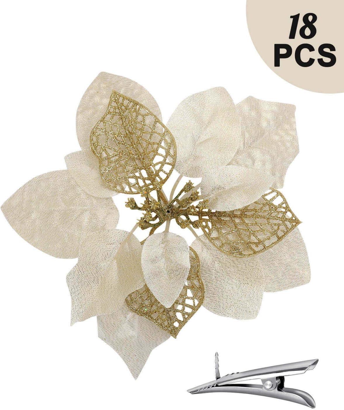 18PCS Poinsettia Flowers for Tree Skirt Christmas Decorations - Gold Christmas Flowers Artificial for Decoration, Christmas Ornament Picks Good for Christmas Tree Wreath, Seasonal Wedding Deco