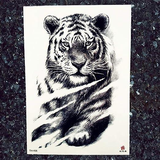Yyoutop Tigre Negro Grande Tatuajes Hombres Lobo Leopardo Tatuajes ...