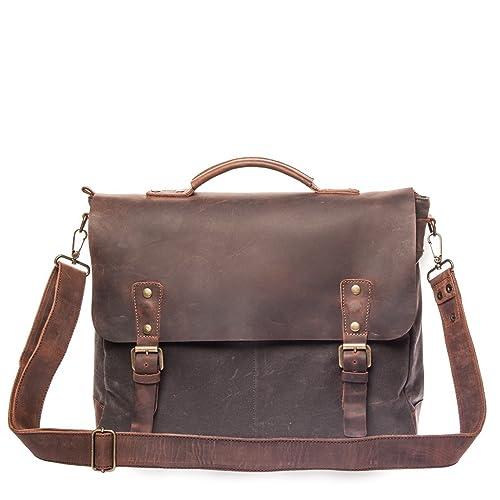 3d6c0c561 Vintage Handmade Satchel Bag - British Made Waxed Canvas & Alcanena Leather  - Laptop Briefcase for Man