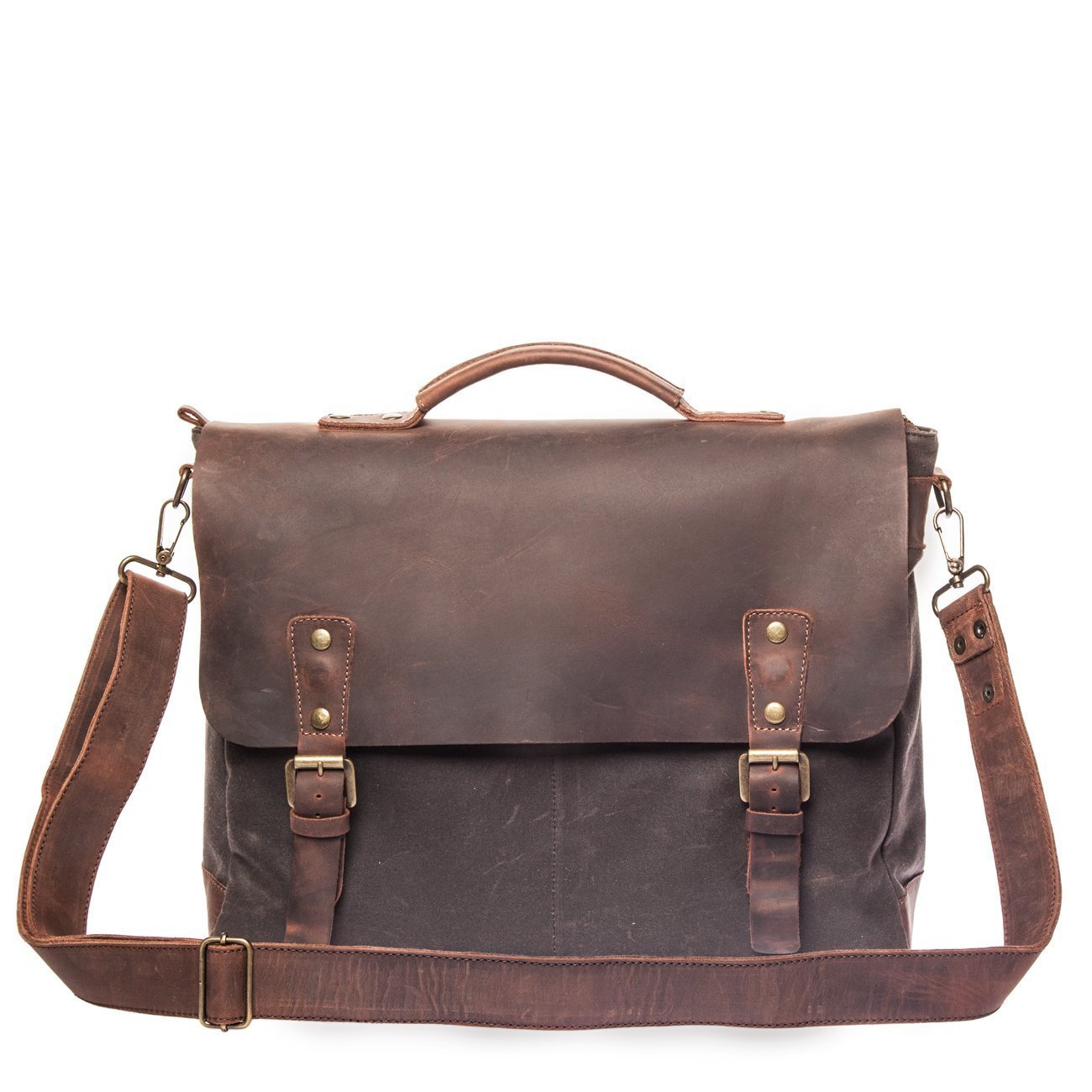 Vintage Handmade Satchel Bag - British Made Waxed Canvas & Alcanena Leather - Laptop Briefcase for Man
