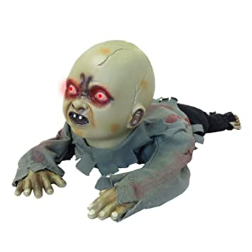 Halloween Zombie Baby Prop.Screaming Light Up Crawling Zombie Baby Animated Halloween Prop
