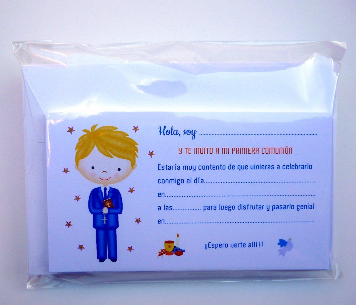 12 unidades Para que Sus Amiguitos /¡Alucinen! Invitaciones de Primera Comuni/ón Ni/ño Rubio Muy Bonitas