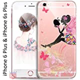 KC Printed Sitting Girl Sparkle Case Transparent Soft Back Cover for iPhone 6 Plus & iPhone 6s Plus