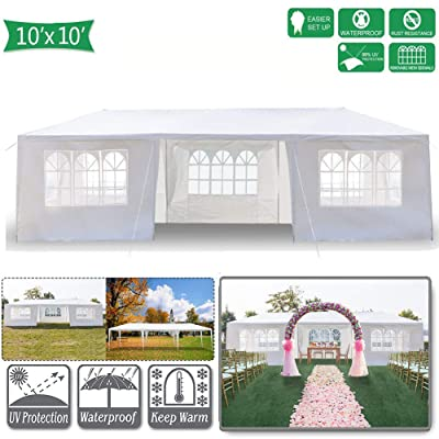 10' x 30' Canopy Tents for Outside, Easy Set up Canopy Tent for Camping with 7 Removable Sidewalls, Waterproof Folding Canopy Wedding Tent for Party Beach Commercial Event Gazebo Pavilion: Sports & Outdoors