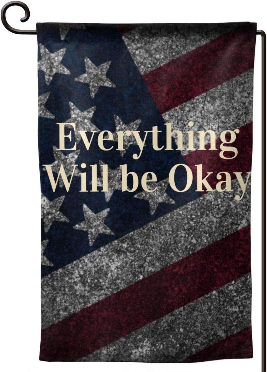 GAJAJAYZXN Everything Will Be Ok Garden Flag 12.5 X 18 Inch, Family Outside Yard Decoration Flag