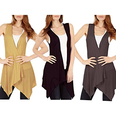 3-Pack Sleeveless Light Weight Flyaway Cardigan Vest with Elastic Detail at Back at Women's Clothing store