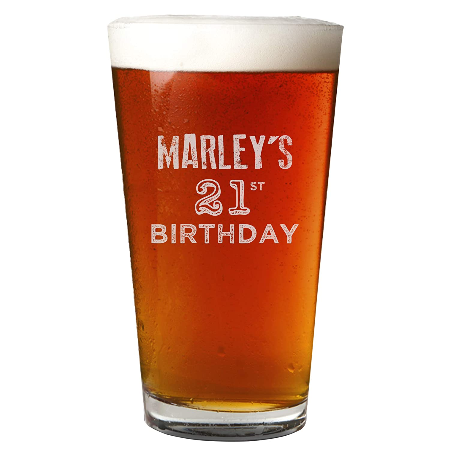 Personalized Etched Pint Glass for Birthday Gifts (Design 2)