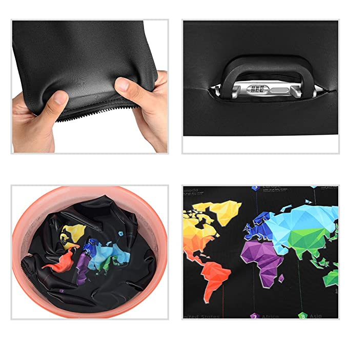 Amazon.com: ASIV Luggage Cover Protector with Zipper, Soft Elastic Thick Anti-dust Suitcase Cover with Paintings World Map Travel Suitcase Cover Protector: ...