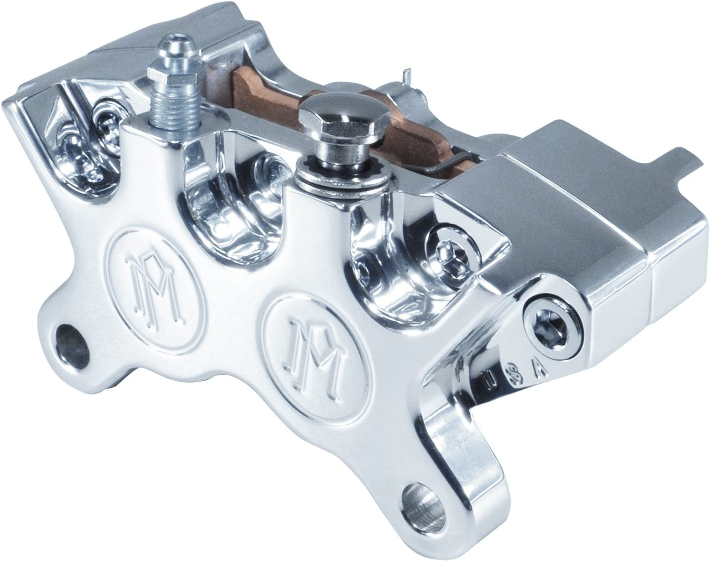 POLISHED Billet Aluminum Harley Chopper Bobber Cafe Racer MADE IN THE USA Performance Machine 4-Piston Brake Caliper WITH PADS