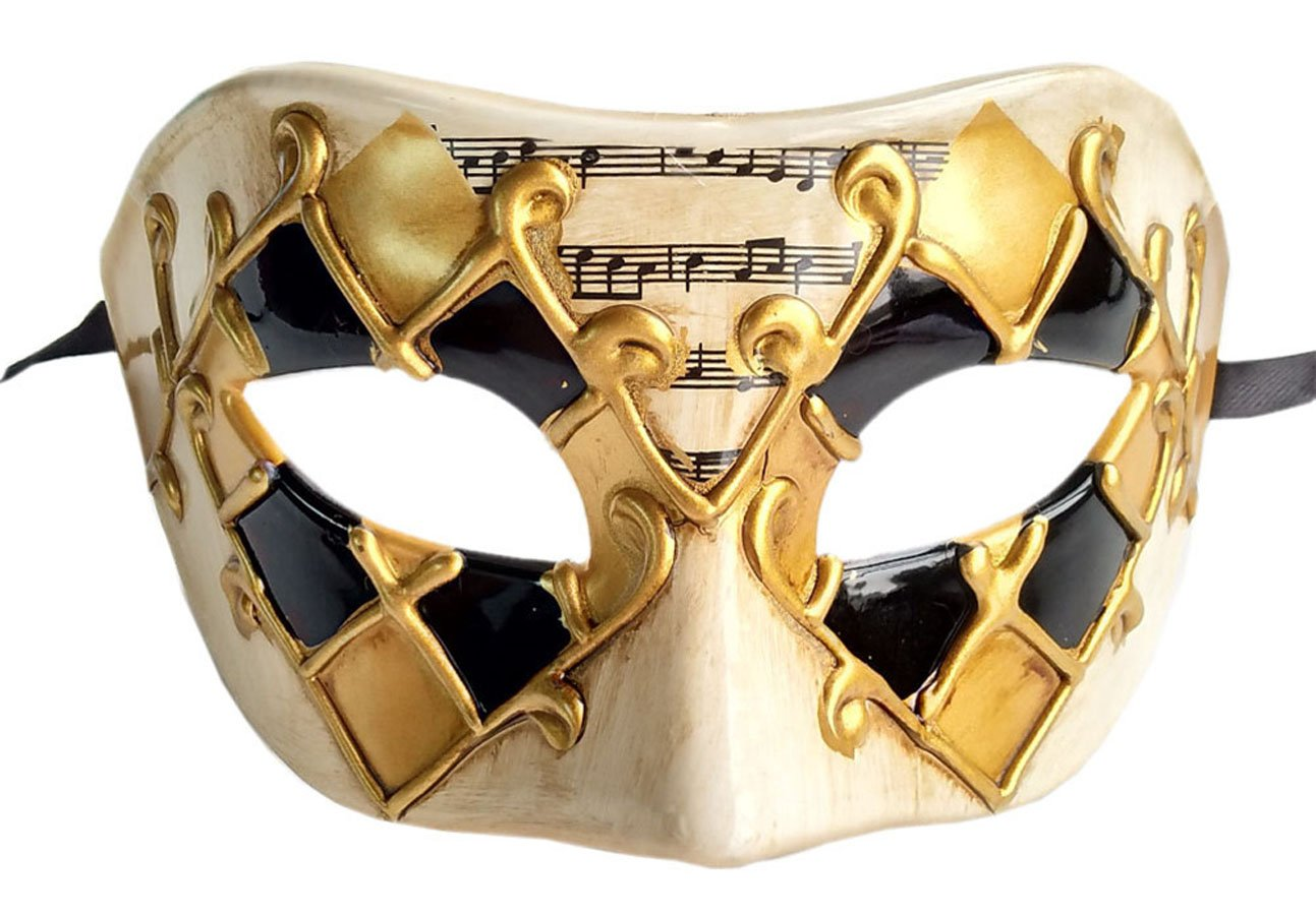 Men's Masquerade Mask Musical Checked Venetian Halloween Mardi Gras Party Mask (Checkered Gold) by Flywife