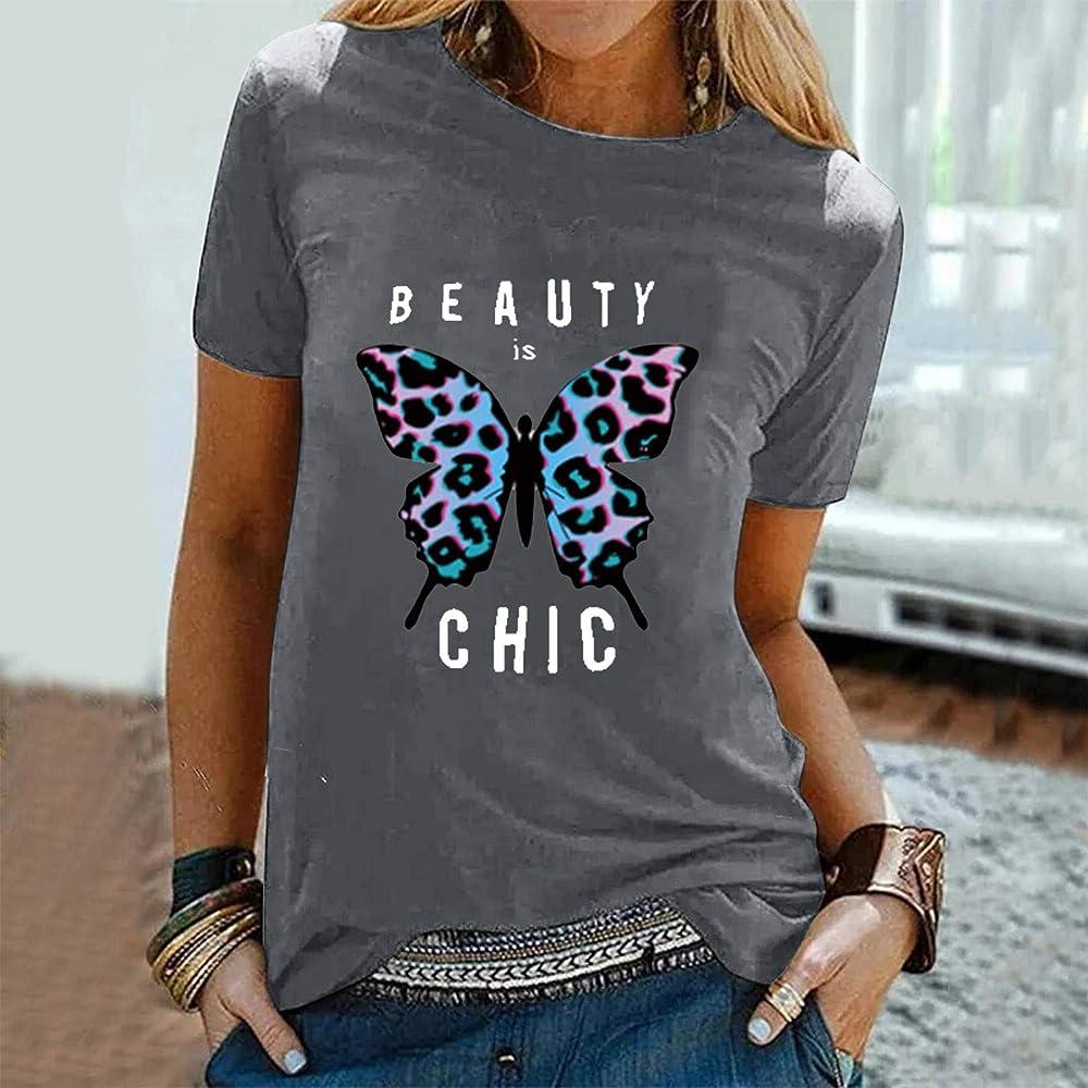 Camiseta para Mujer El Verano Manga Corta Cuello Redondo ...