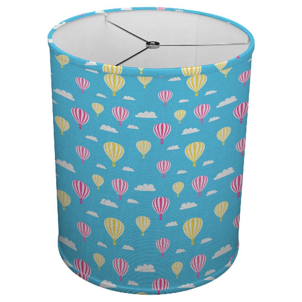 Hardback Linen Drum Cylinder Lamp Shade 8'' x 8'' x11'' Spider Construction [ Hot Air Balloons Seamless ]