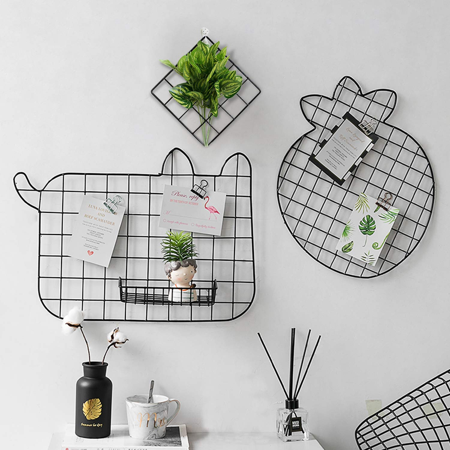 GBYAN Cat Grid Wall Panel, Decorative Iron Rack Clip, Painted Wire Photograph Grid Wall Hanging Picture Multifunctional Photo Hanging Display Storage Organizer,25.6inch x17.7inch, Black 2 Pack by GBYAN